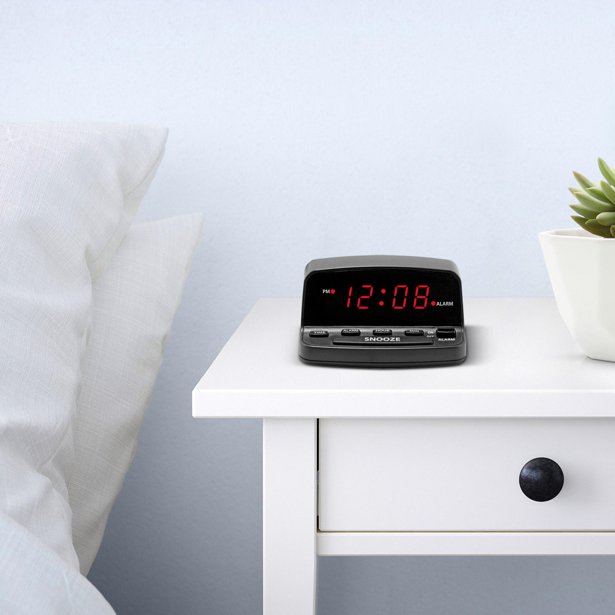 A digital alarm clock in someones home