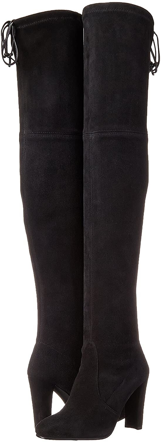 A pair of the Stuart Weitzman Highland boots in black