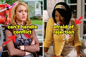 """Lola from """"Confessions of a Teenage Drama Queen"""" captioned """"can't handle conflict"""" next to Taylor from """"High School Musical"""" captioned """"afraid of rejection"""""""