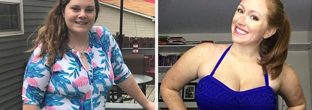 reviewer in a floral rash guard and reviewer in a crochet blue one-piece