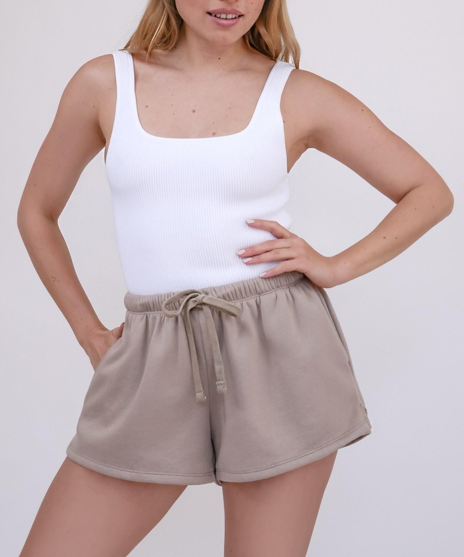Model wearing shorts