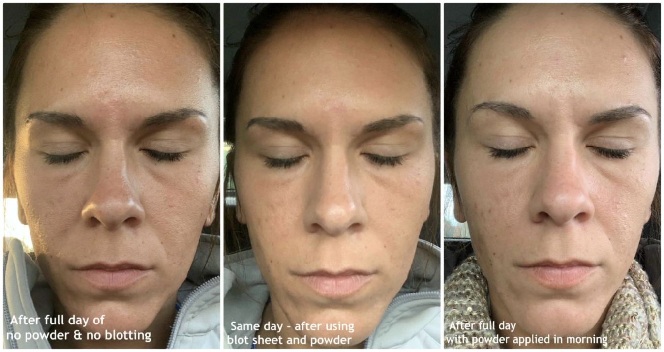 Reviewer's three comparison photos without powder and with