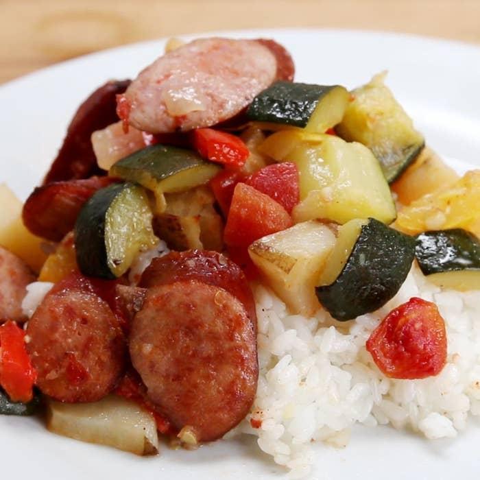 Sausage and veggies over rice.