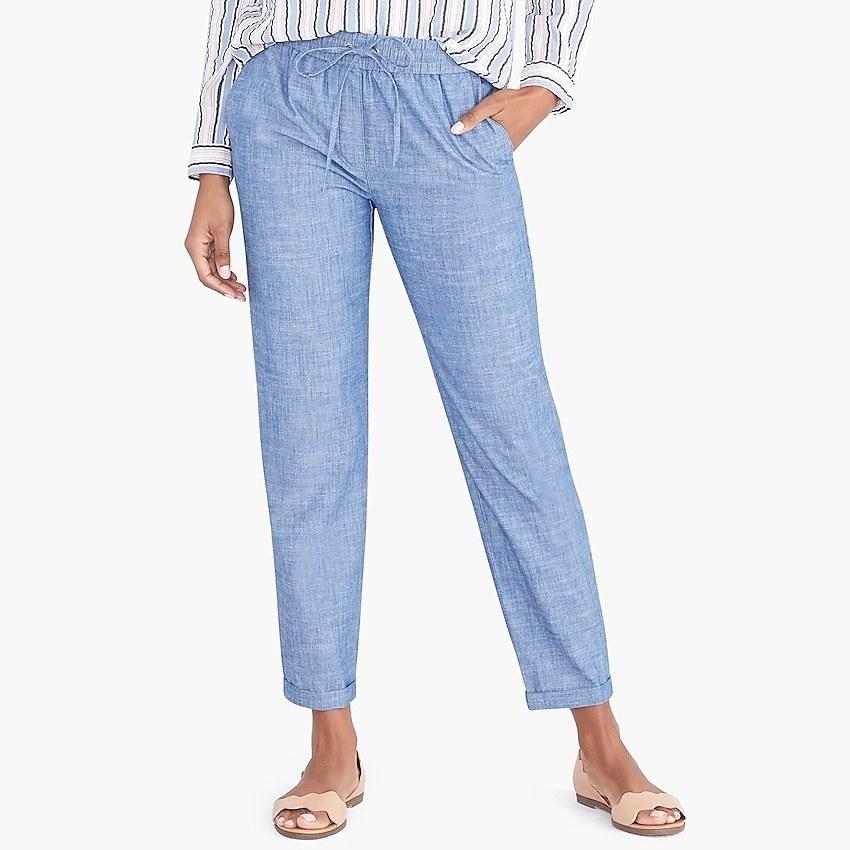 Model wearing drawstring pants