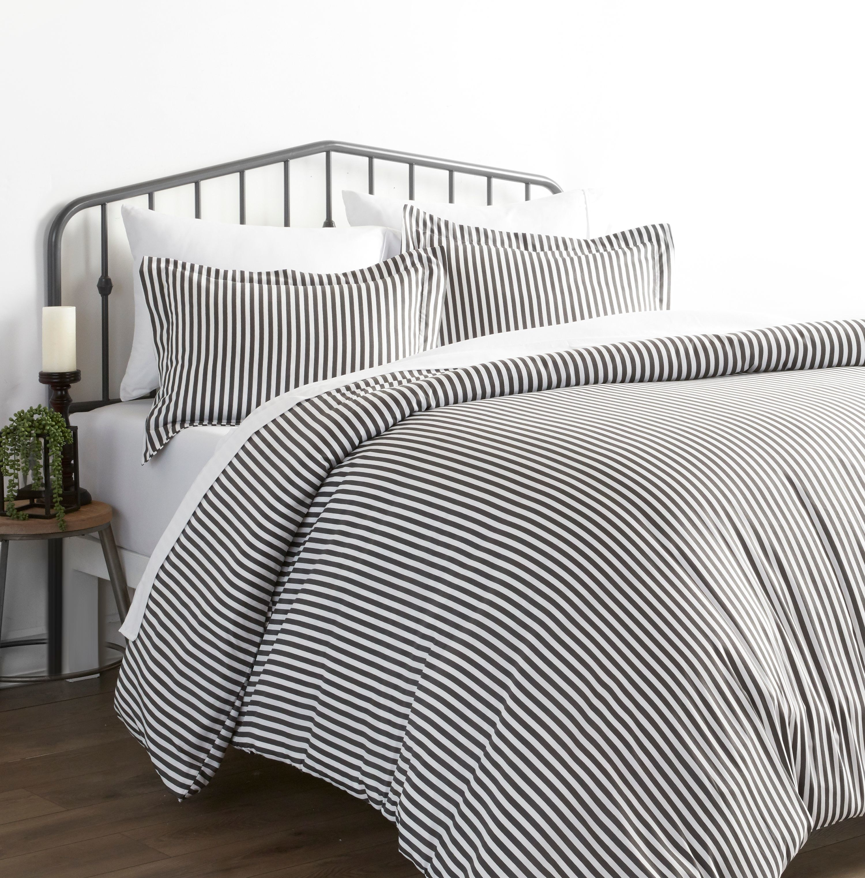 A striped linen set in someone's home