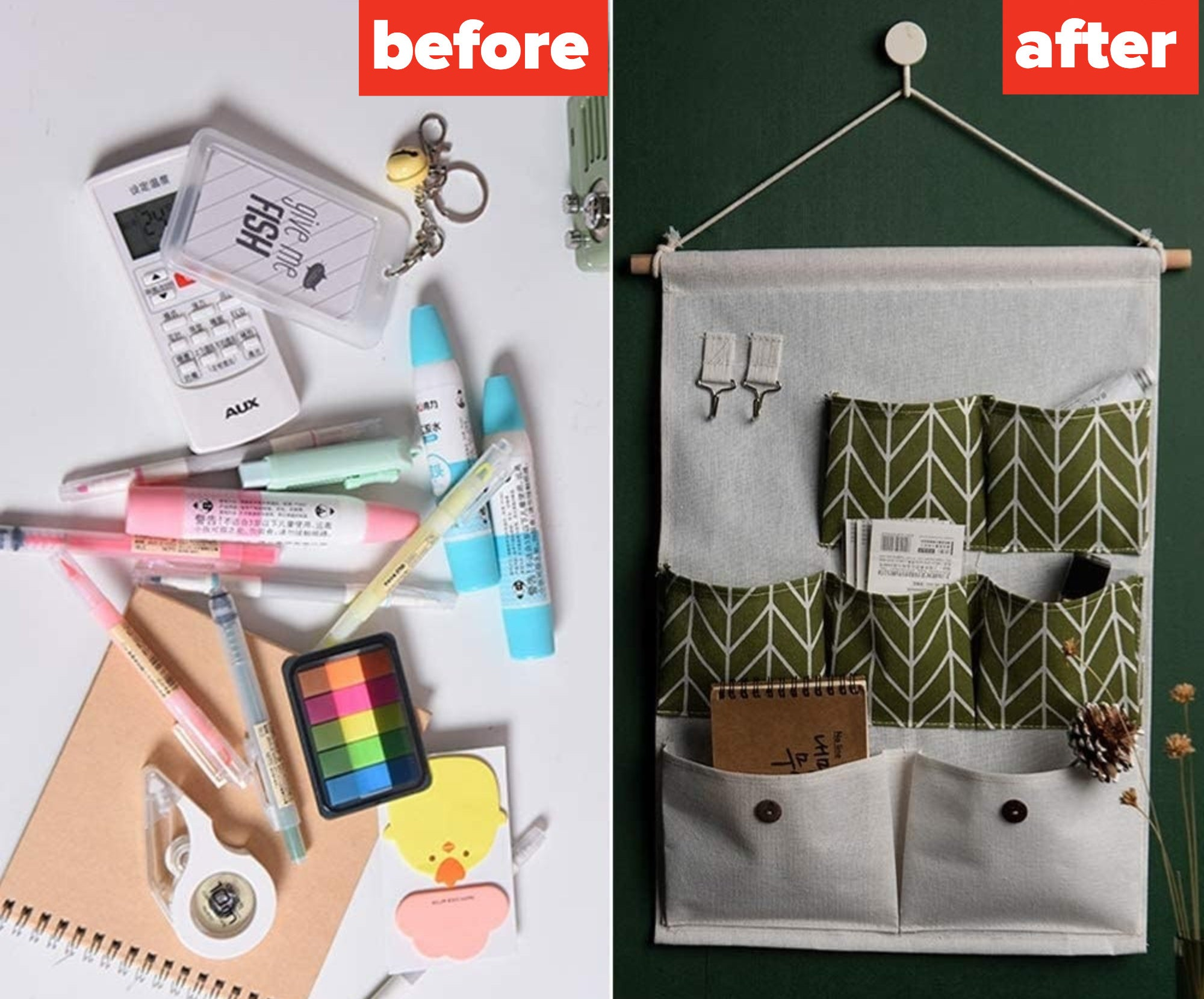 the before image of cluttered stationery laid out on a desk beside the after image of everything tucked away into the wall storage pocket