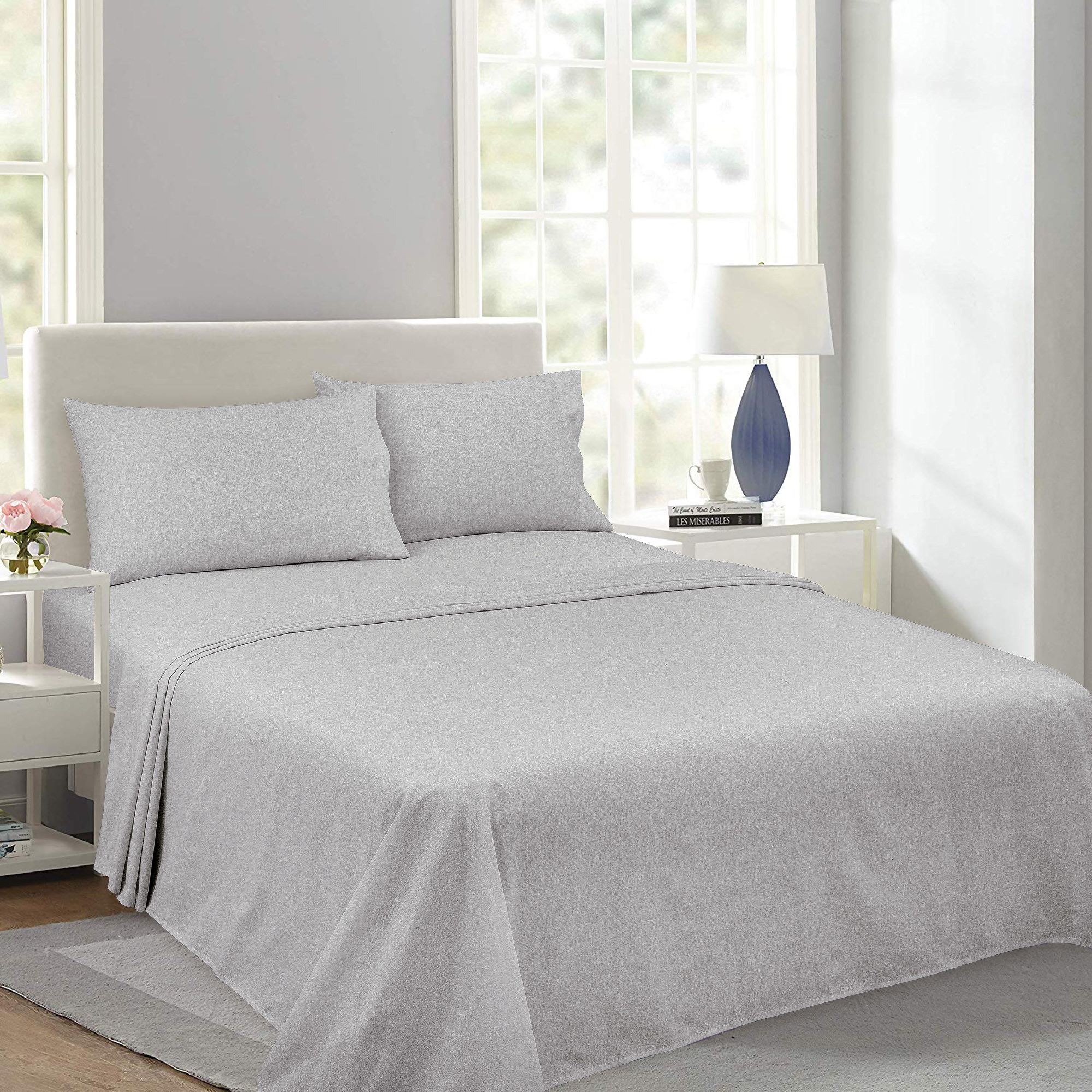 A grey sheet set in a home