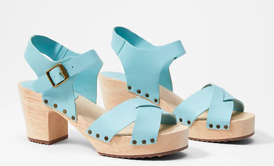 The Criss Cross Leather & Suede Clog Sandals in Dusty Sea Glass