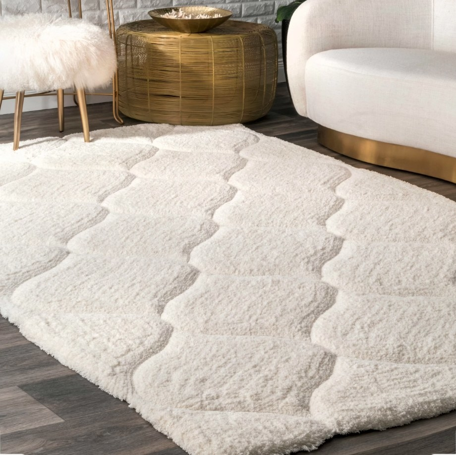 White rug with textured pattern