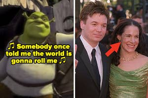 "Shrek exiting his bathroom in ""Shrek;"" Mike Meyers and Vicky Jenson at the ""Shrek"" movie premiere"
