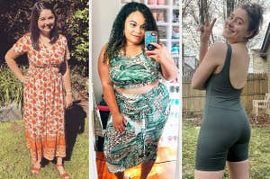 on the left a buzzfeeder in an orange floral maxi dress, in the middle a buzzfeeder in a green floral crop top and skirt set, on the right a buzzfeeder in a bike unitard