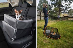 A dog booster seat / a pet tent