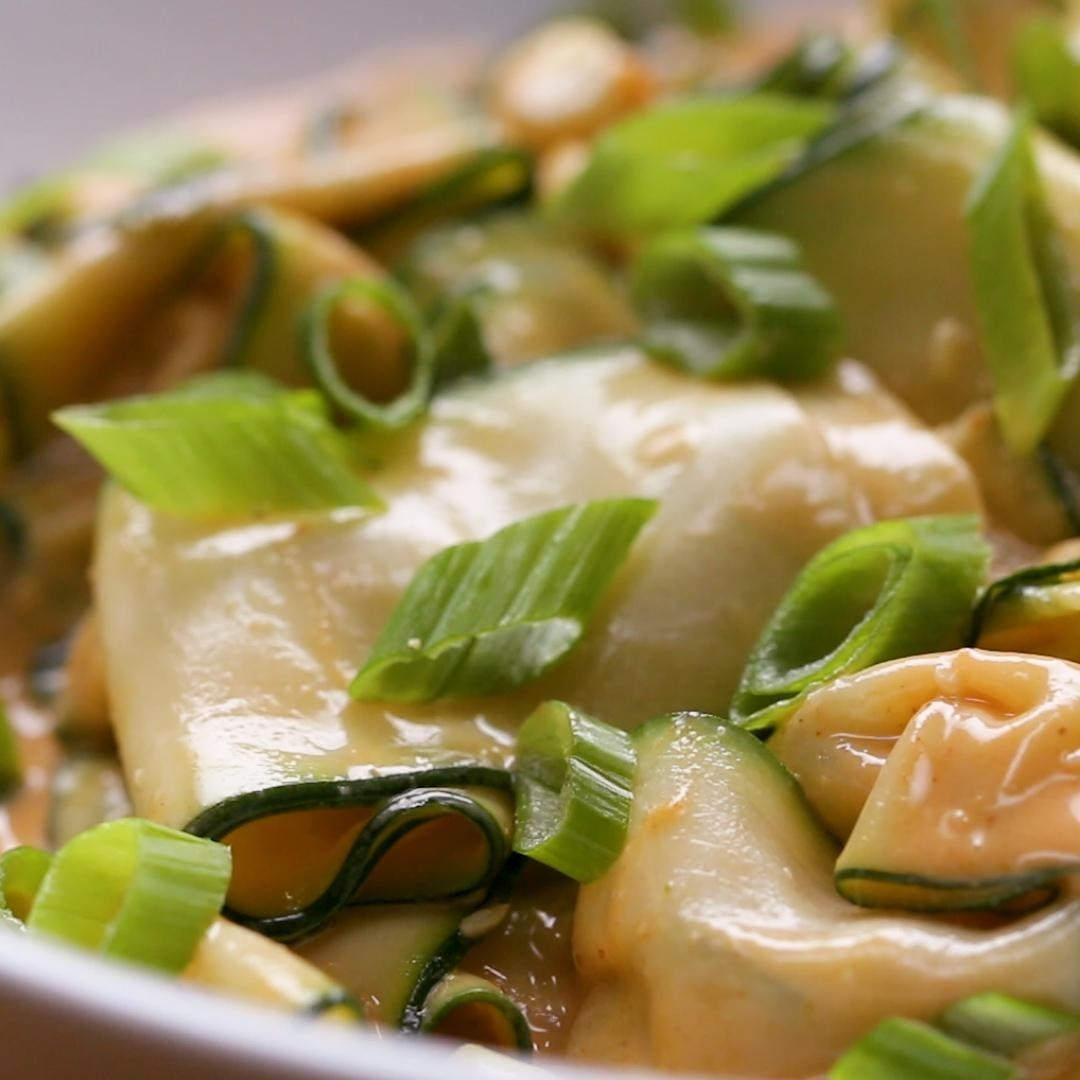 Zucchini noodles with peanut sauce.