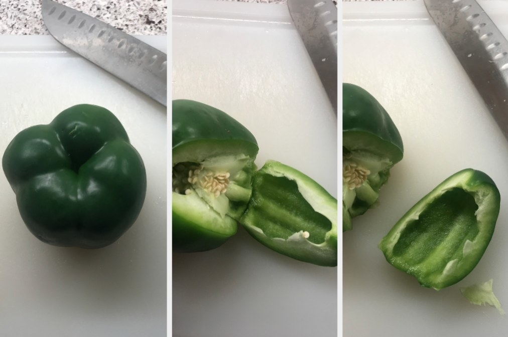 A green bell pepper in various stages of being cut