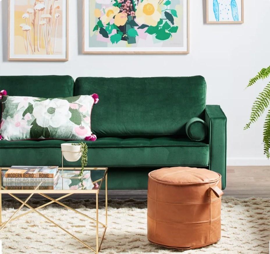 an emerald green sofa