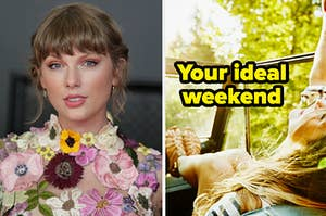 """Taylor Swift is on the left posing with a woman in a car labeled, """"Your ideal weekend"""""""