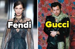 Hailey Baldwin wearing Fendi and Harry Styles wearing Gucci