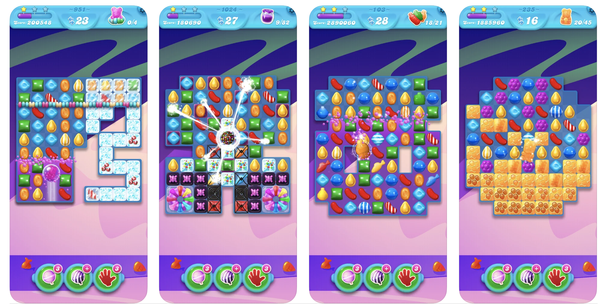 Four screenshots oof the row-clearing game being played