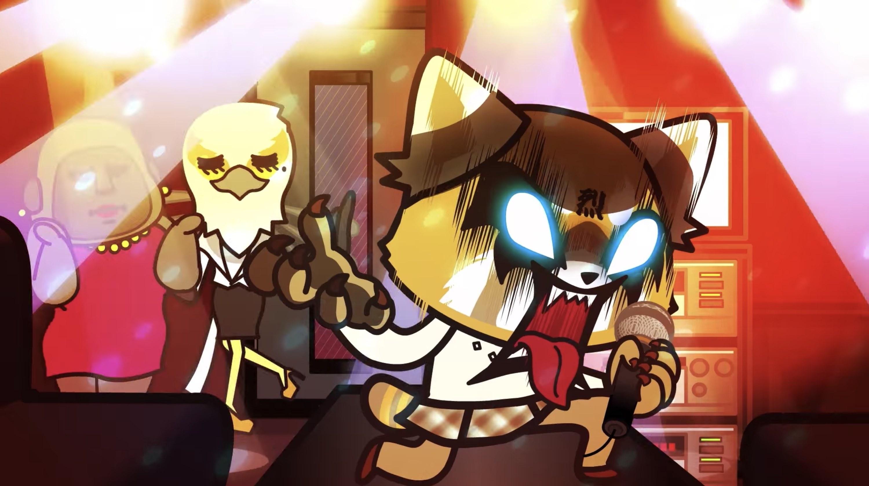 Aggretsuko screams to death metal karaoke with Gori and Washimi dancing behind her