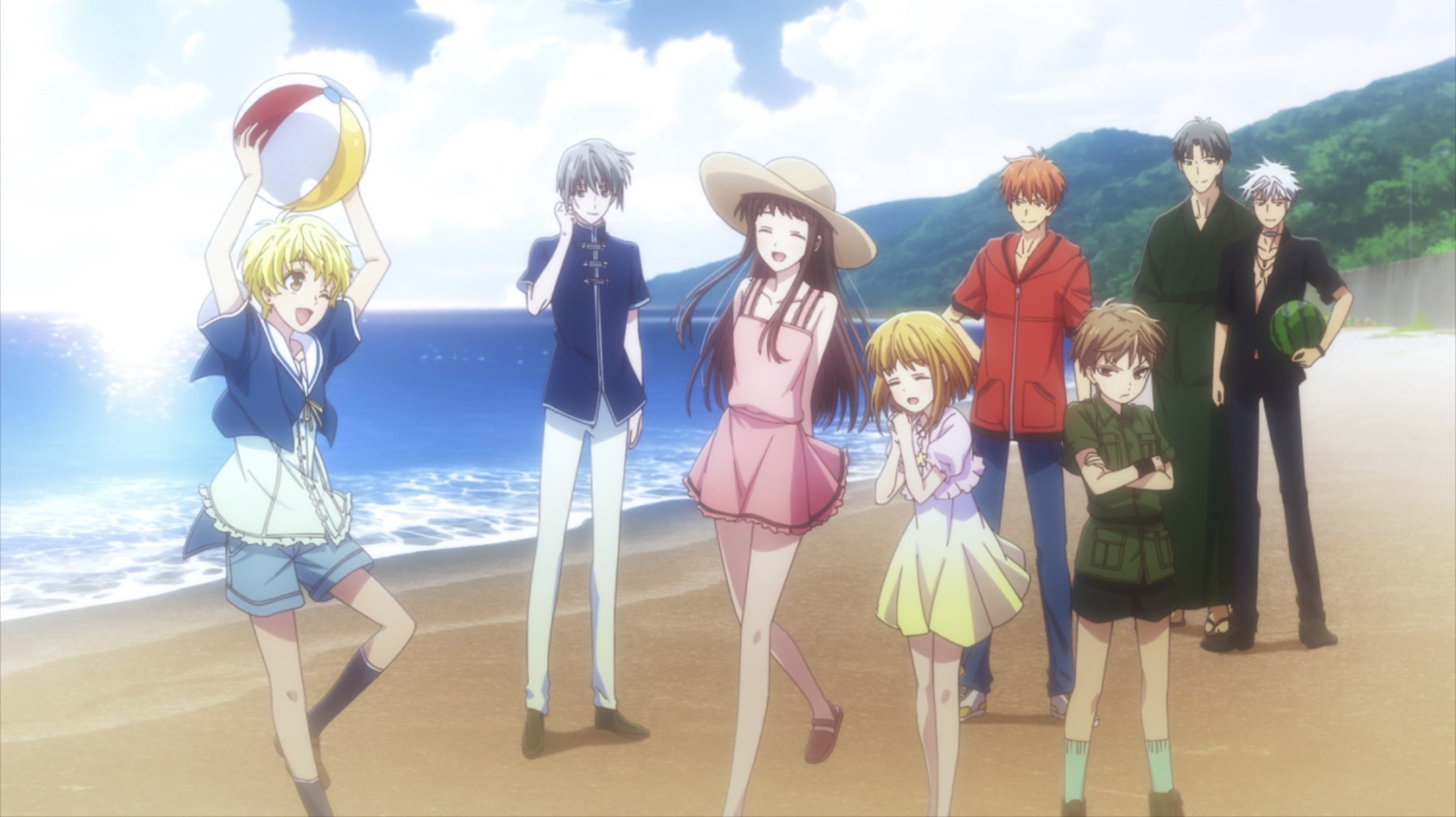The Sohmas and Tohru strolling on the beach
