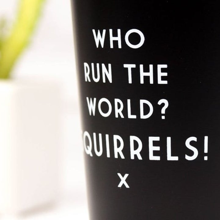 tumbler that says who run the world? squirrels