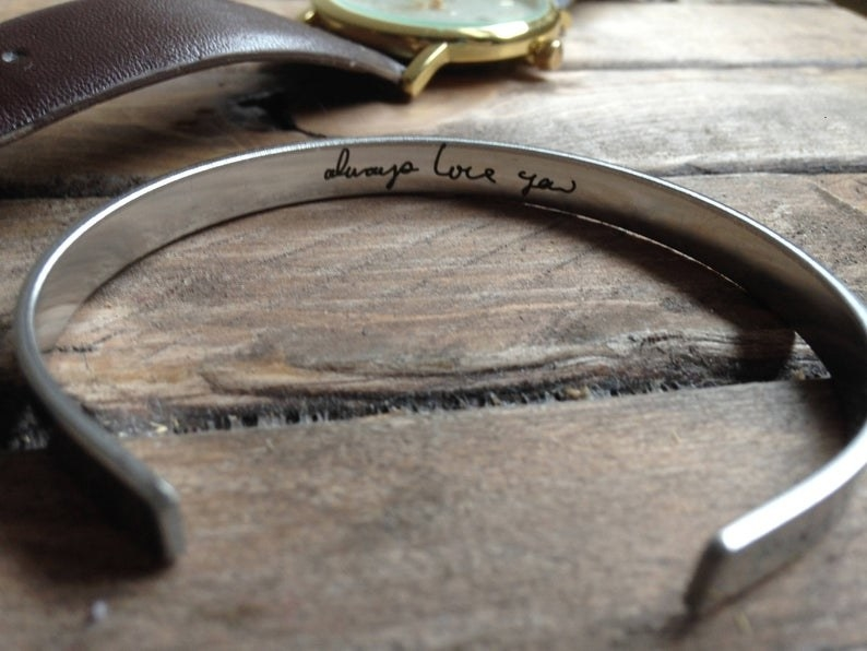 """silver bracelet with message """"always love you"""""""