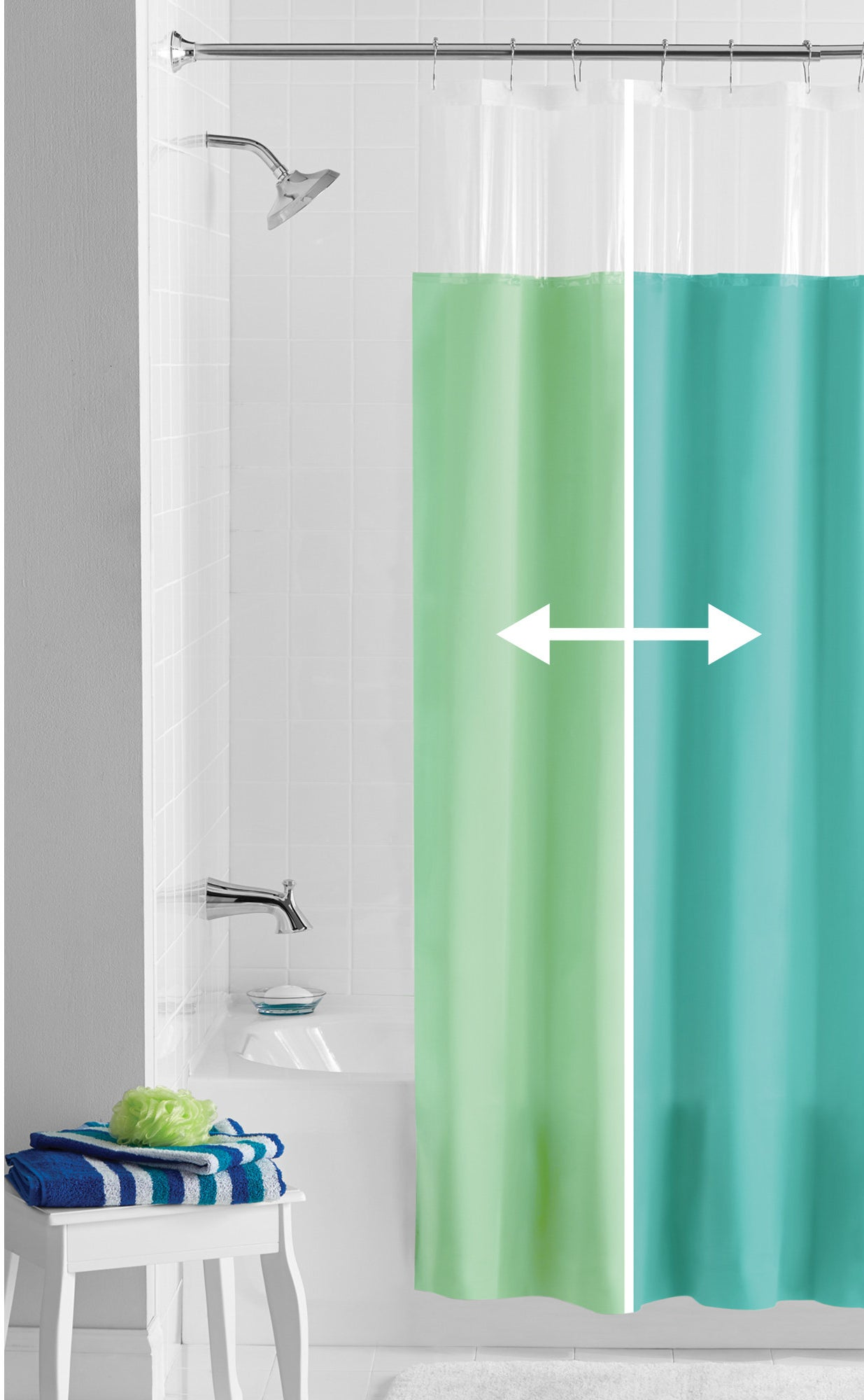 the reversible green and blue shower curtain