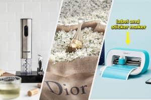 electric wine cork, dior perfume and cricut joy