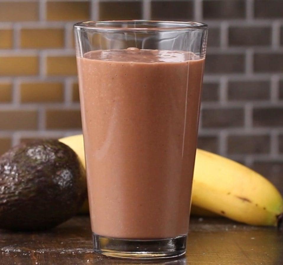 A chocolate banana and avocado smoothie.