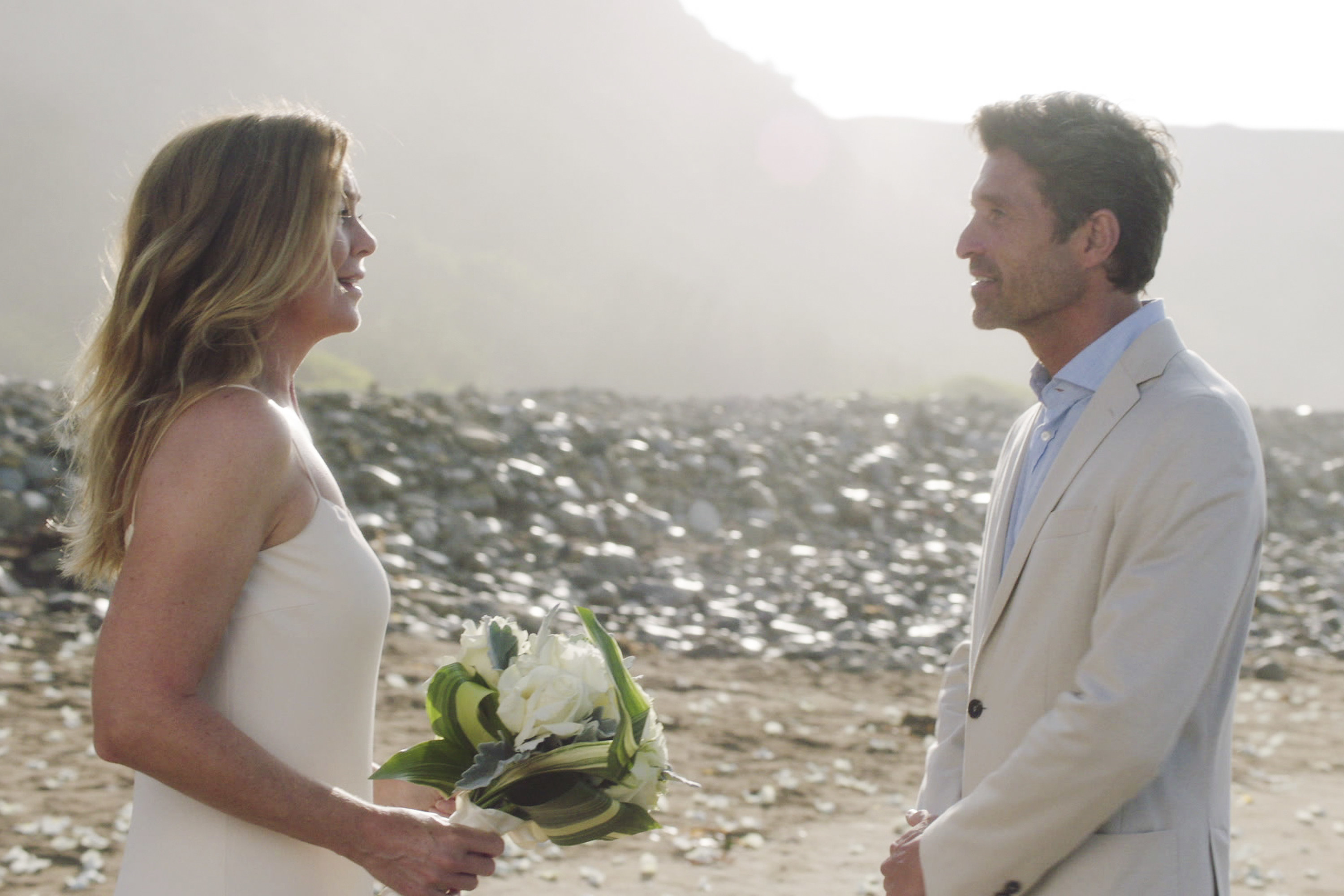 Pompeo and Dempsey during Derek and Meredith's wedding in Grey's Anatomy