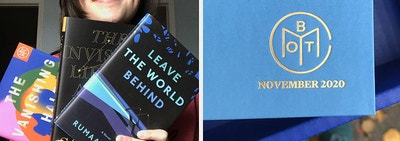 on the left the writer holding three books, on the right a gold embossed book of the month book