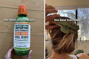 a side-by-side image of mouthwash and the author's hair in a clip
