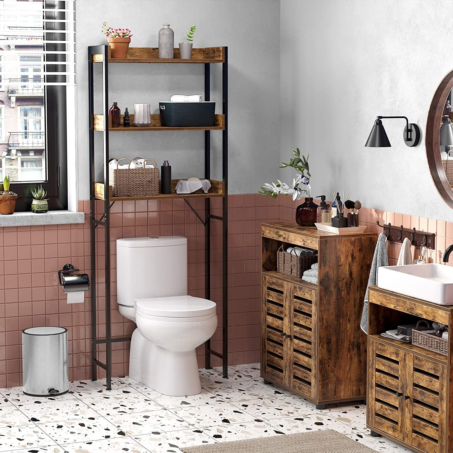 The rustic wooden shelving unit over a toilet in a wood-accented bathroom