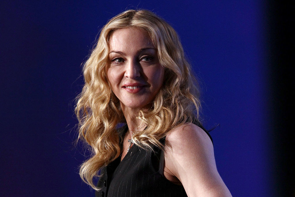 Madonna in a sleeveless black outfit
