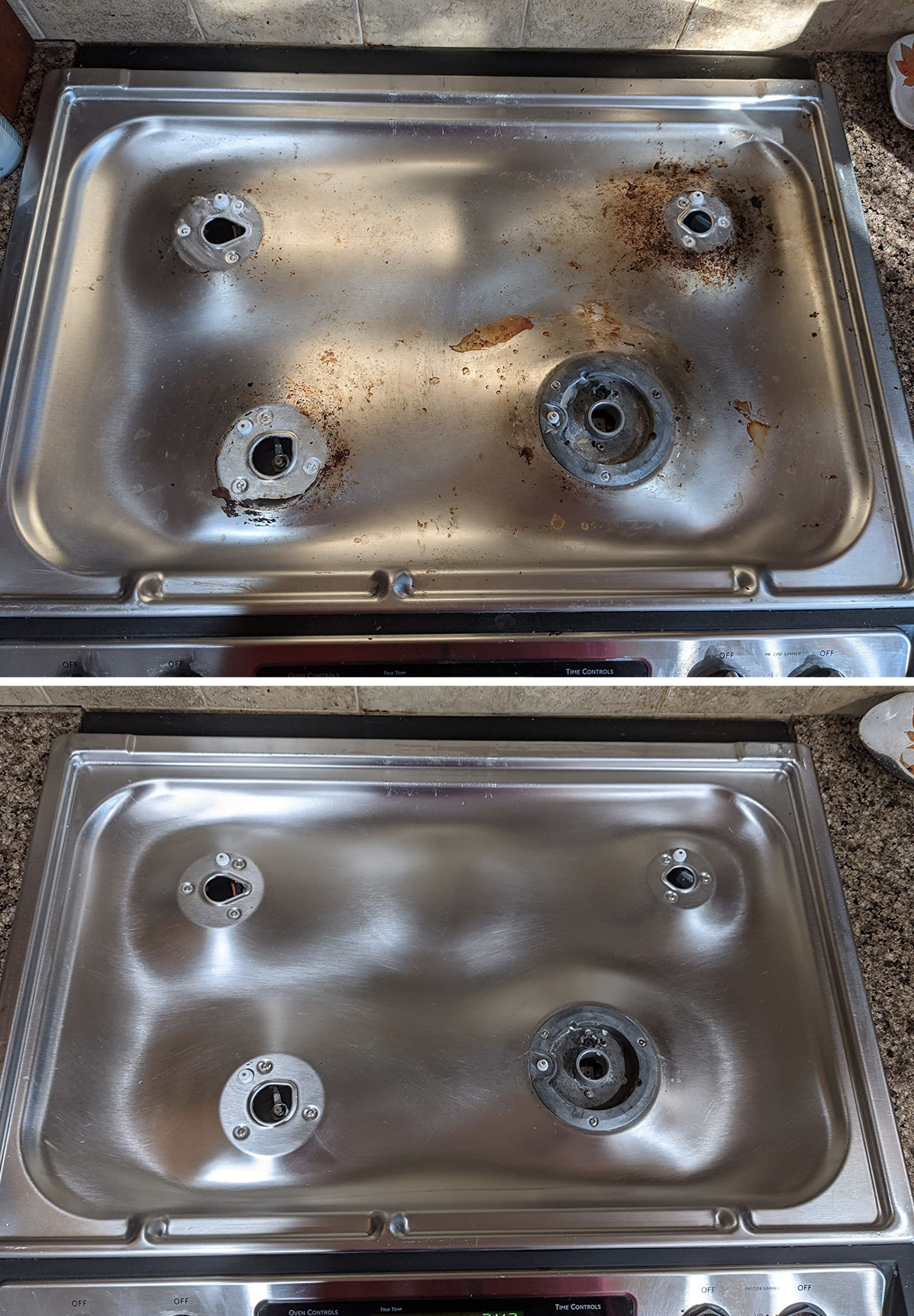 before: reviewer's stainless steel cooktop, covered in cooked-on oil splatters and after: the cooktop shiny with no stains in sight