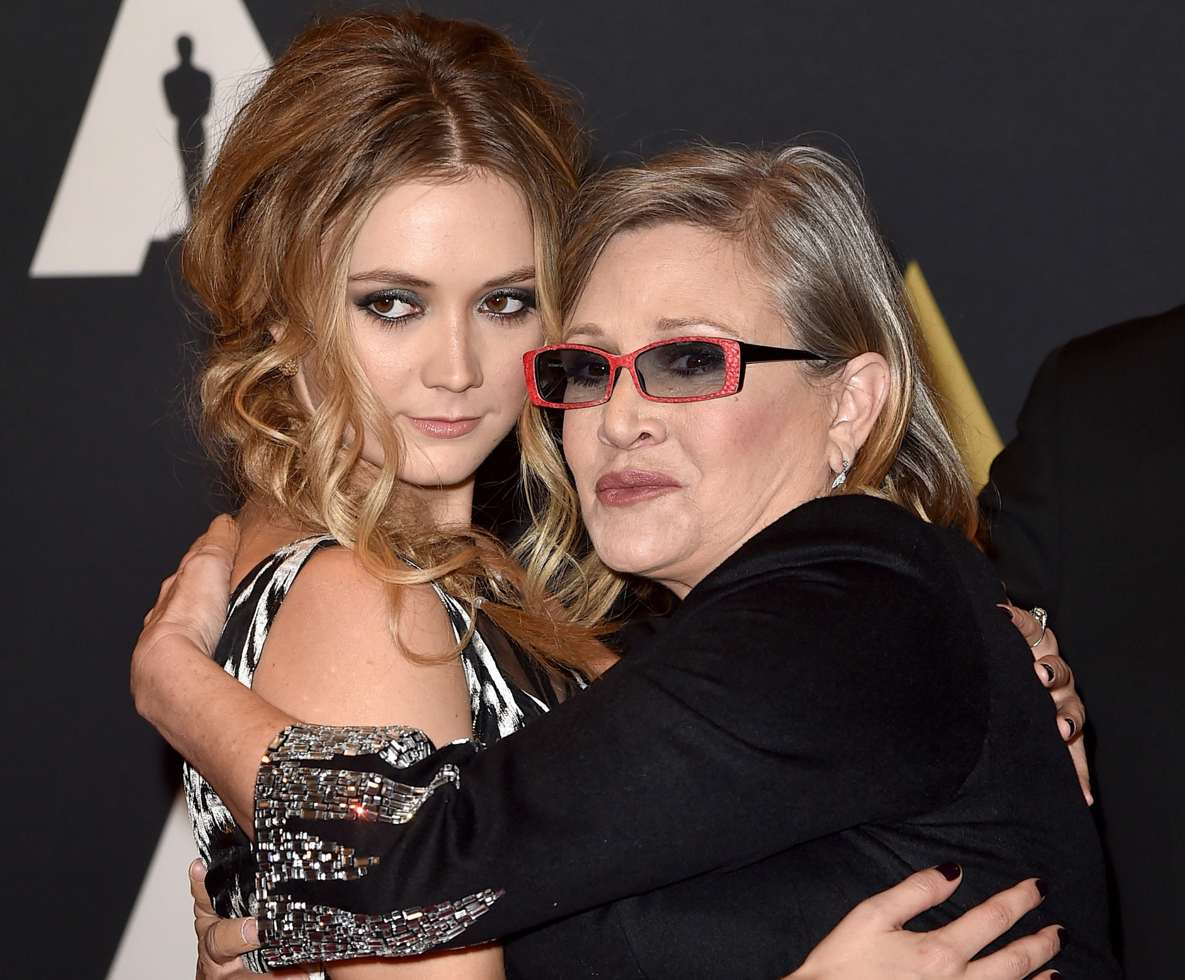 Carrie Fisher and Billie Lourd hugging