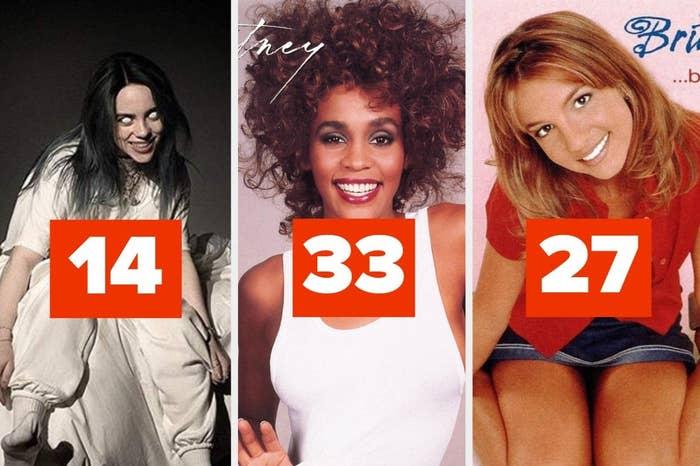 "Billie Eilish's album labeled ""14,"" Whitney Houston's album labeled ""33,"" and Britney Spears' album labeled ""27"""