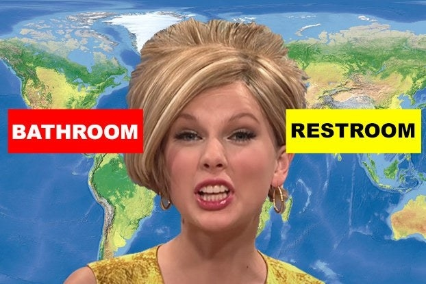 """Taylor Swift with the words """"bathroom and restroom"""" on a world map"""