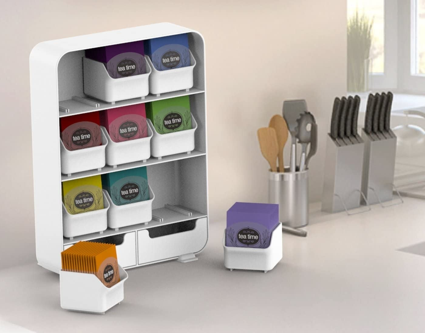 The tea bag shelf with 11 compartments on a counter