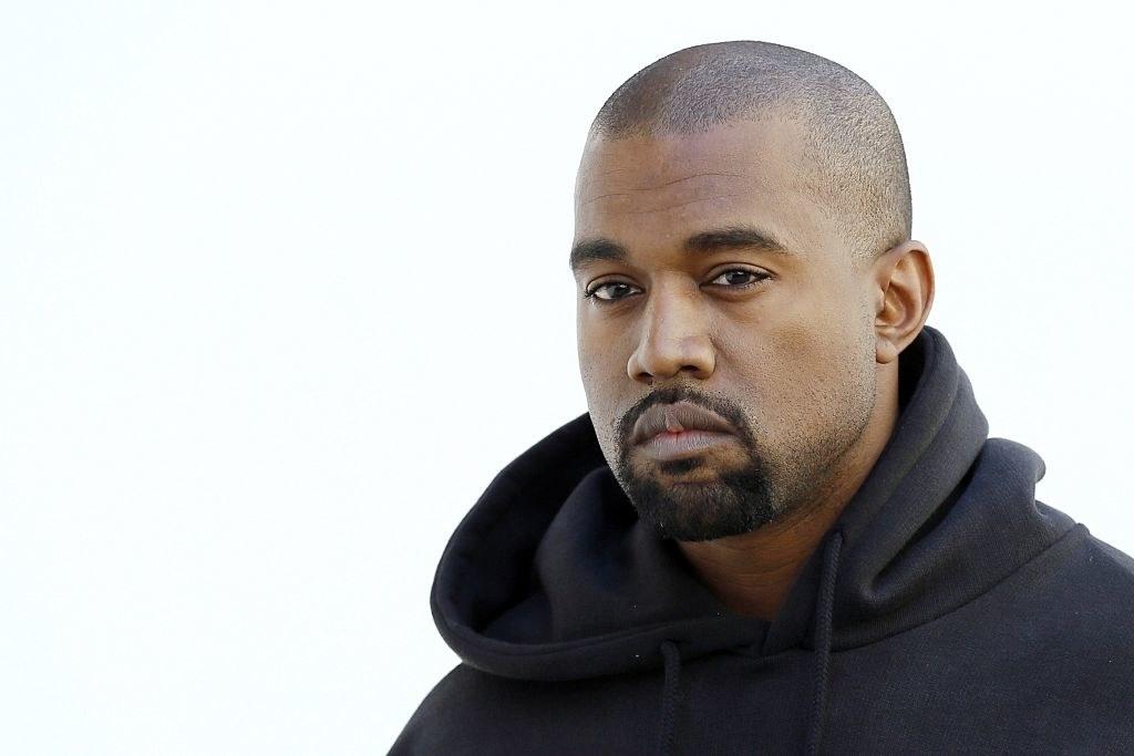 Kanye in a hoodie sweatshirt