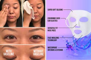 on left BuzzFeed writer using Vaseline to remove makeup and on right graphic showing a silicone face mask holder