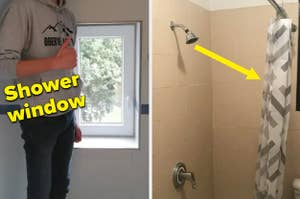 A shower window at crotch level and a shower head that points to the curtain
