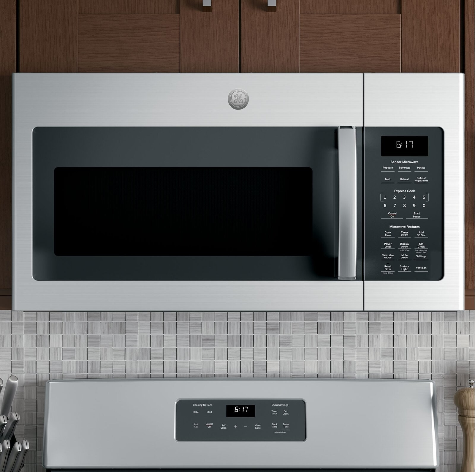 The microwave, which is mounted over the stove, in brushed steel finish