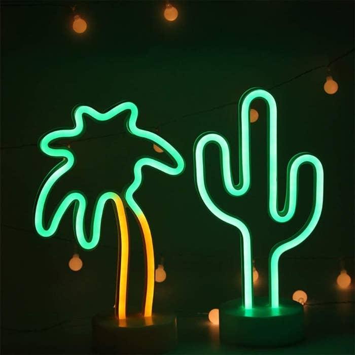 a palm tree light and a cactus light