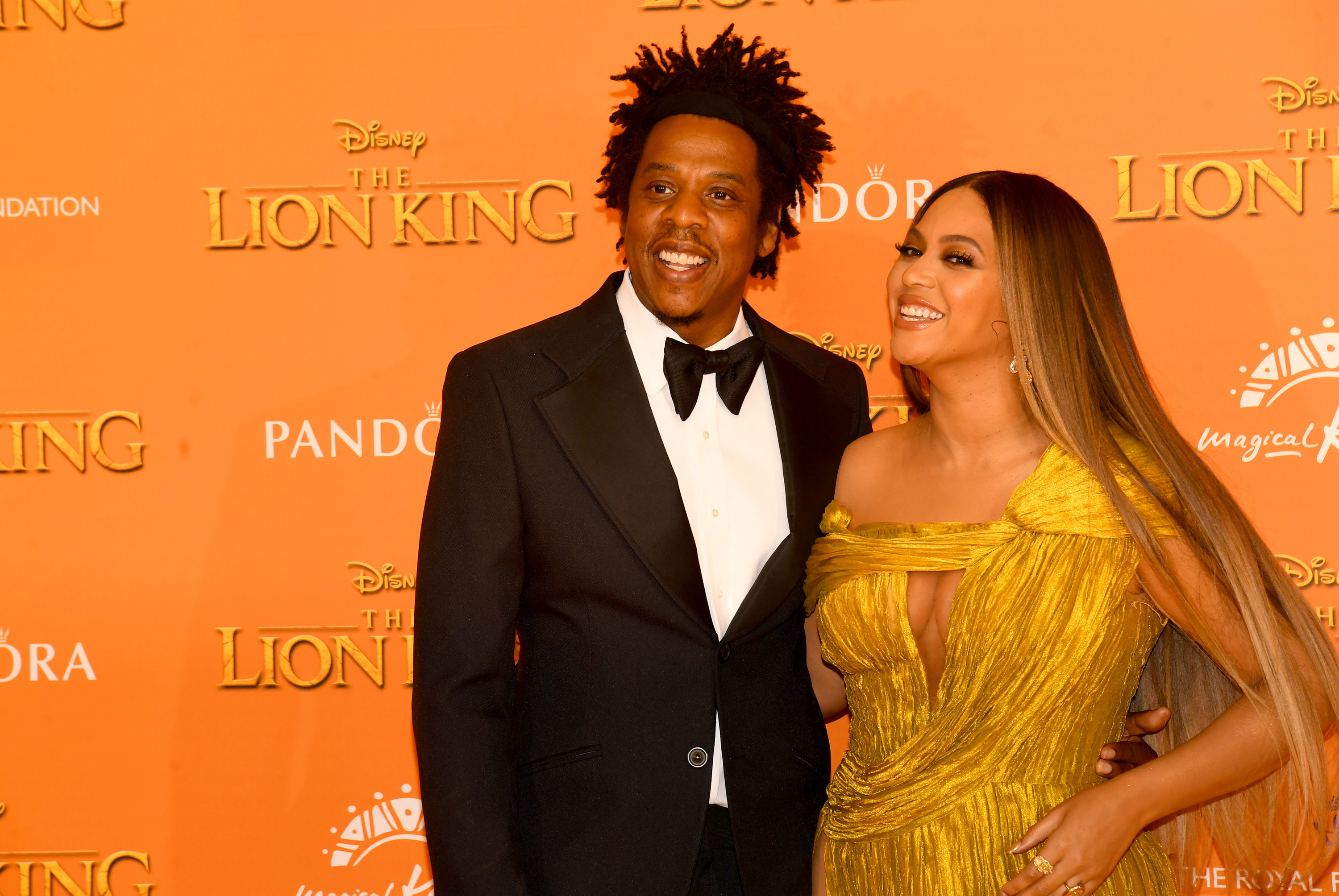 Jay-Z and Beyonce at the European premiere of The Lion King in 2019