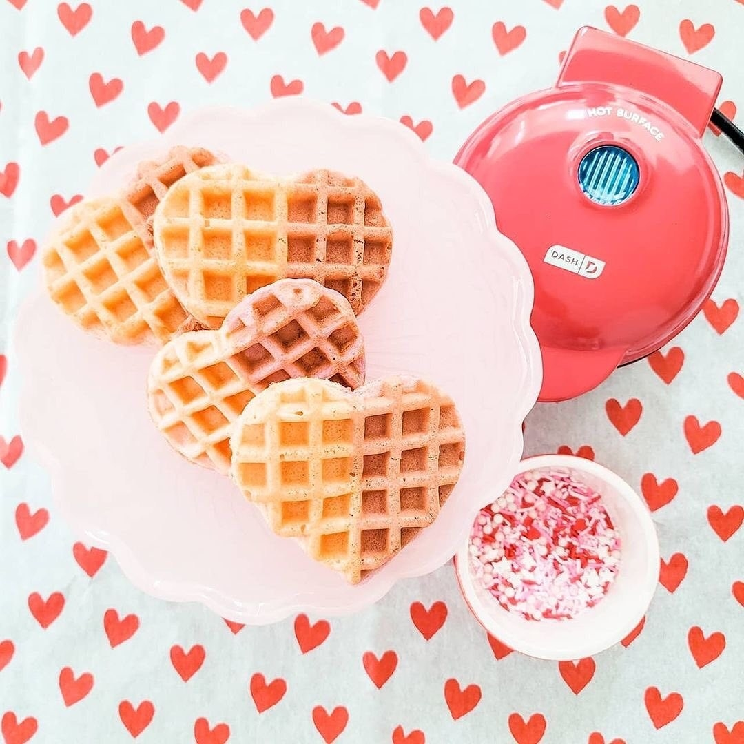 heart-shaped waffles that are half-pink
