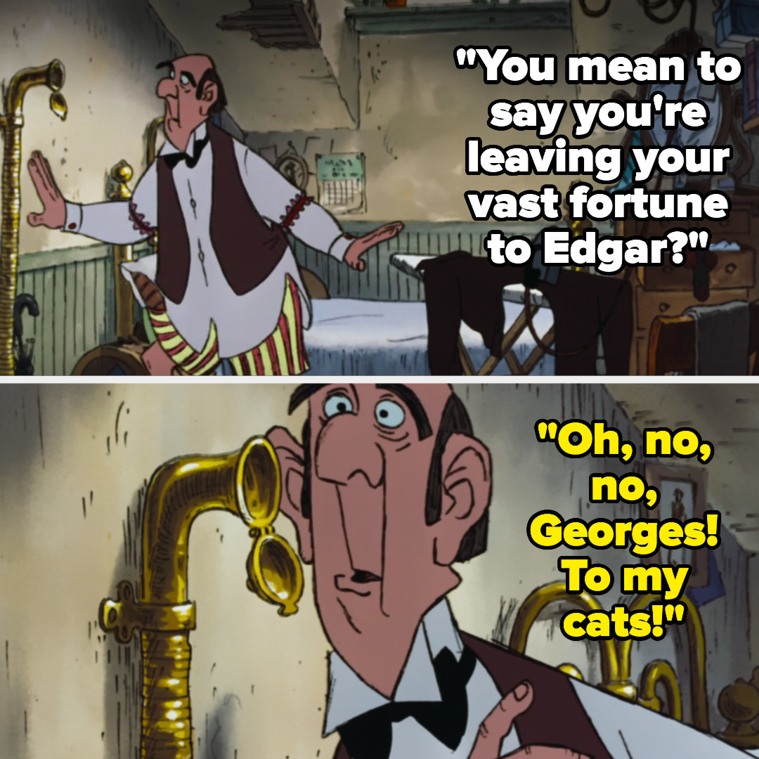Edgar overhears Adelaide say she'll leave her fortune to her cats