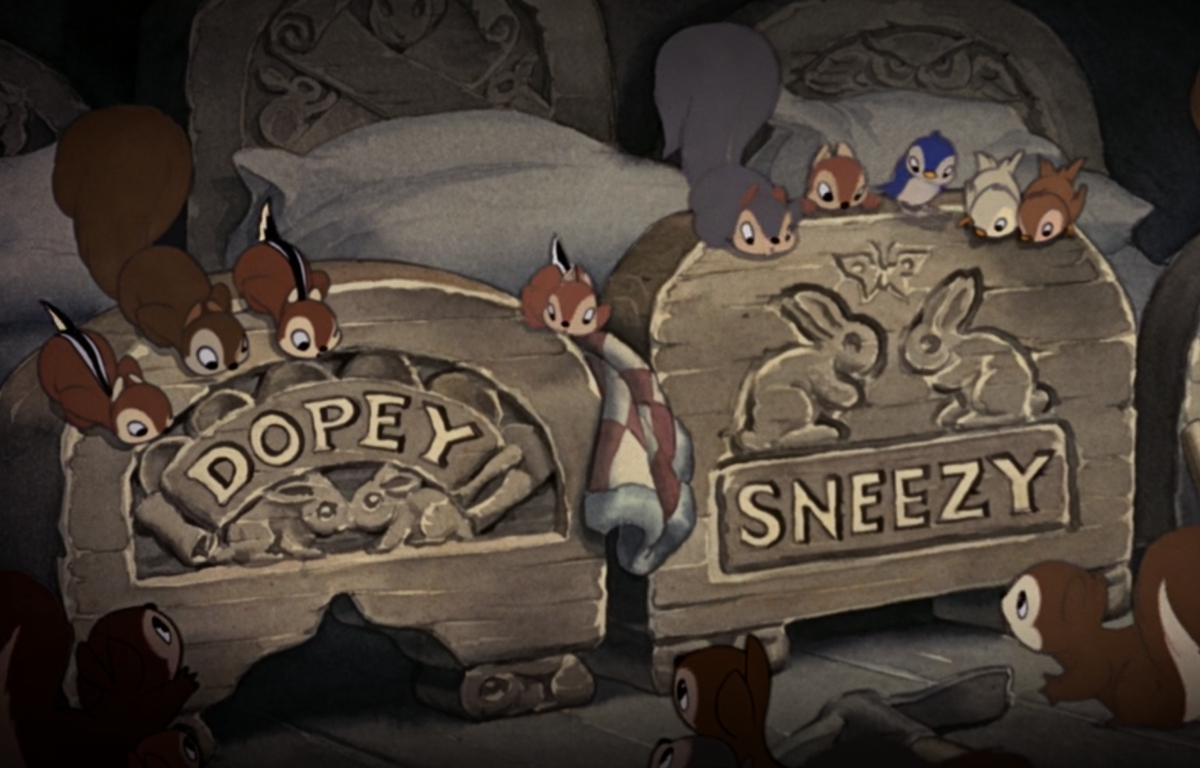 beds for Dopey and Sneezy