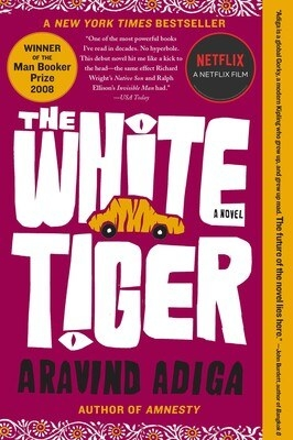 The cover of The White Tiger features a drawing of a car