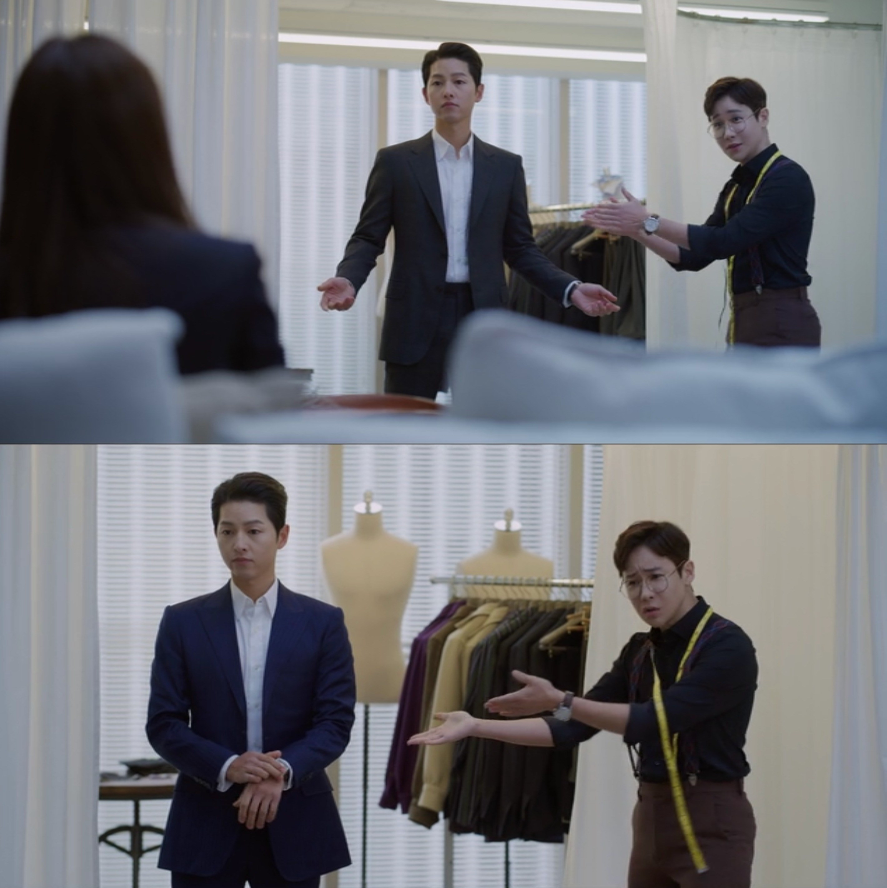 A tailor applauds Vincenzo trying a new suit and encourages Cha-young to applaud as well